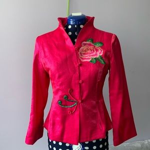 Chinese Style Top Hot Pink